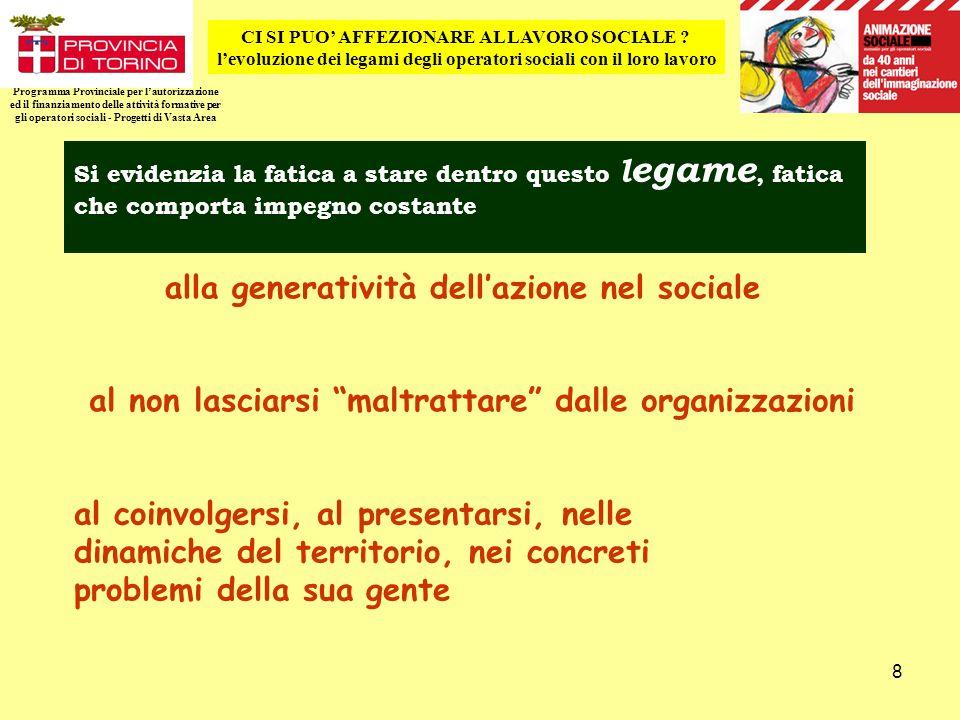 8 Programma Provinciale per lautorizzazione ed il finanziamento delle attività formative per gli operatori sociali - Progetti di Vasta Area CI SI PUO AFFEZIONARE AL LAVORO SOCIALE .