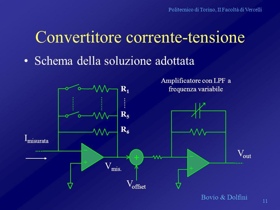 Politecnico di Torino, II Facoltà di Vercelli Bovio & Dolfini 11 Convertitore corrente-tensione Schema della soluzione adottata + + + _ _ I misurata V