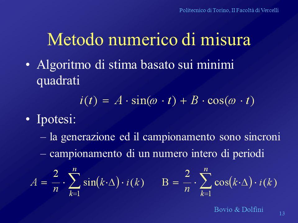 Politecnico di Torino, II Facoltà di Vercelli Bovio & Dolfini 13 Metodo numerico di misura Algoritmo di stima basato sui minimi quadrati Ipotesi: –la