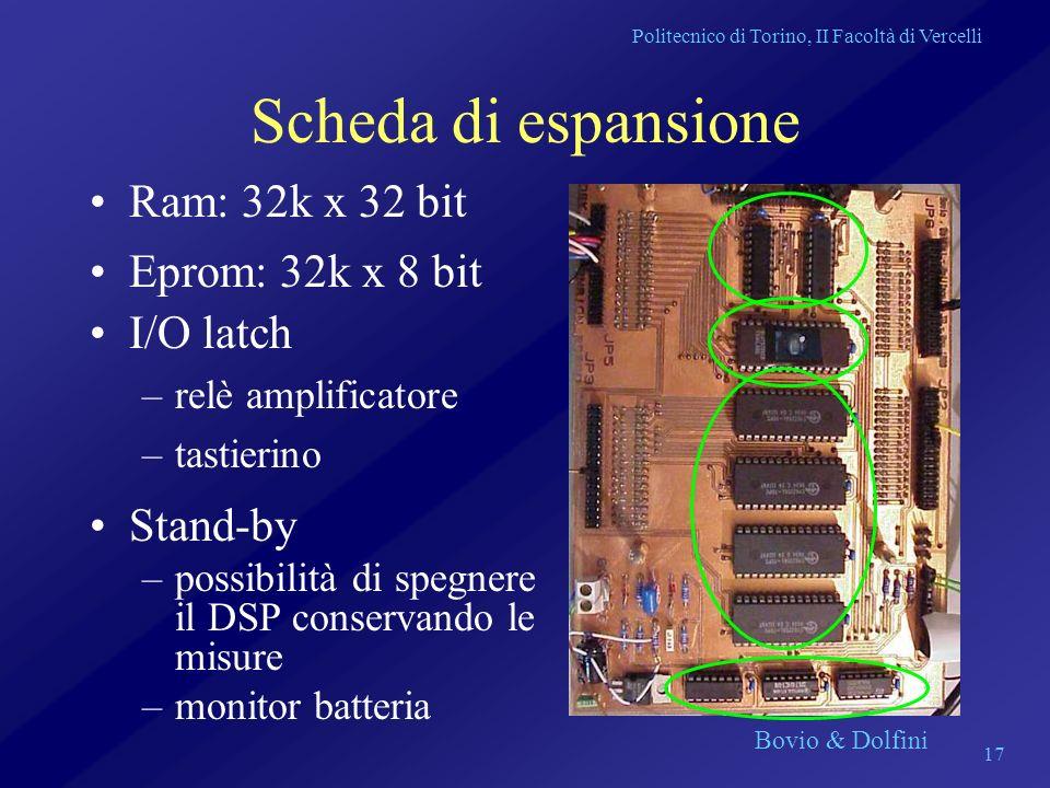 Politecnico di Torino, II Facoltà di Vercelli Bovio & Dolfini 17 Scheda di espansione Ram: 32k x 32 bit Eprom: 32k x 8 bit I/O latch –relè amplificato