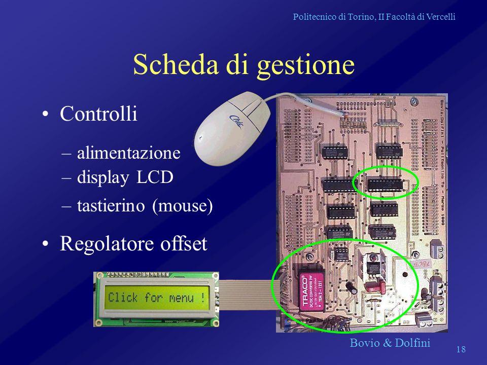 Politecnico di Torino, II Facoltà di Vercelli Bovio & Dolfini 18 Scheda di gestione Controlli –alimentazione –display LCD –tastierino (mouse) Regolato