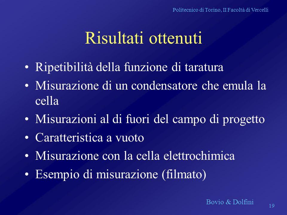 Politecnico di Torino, II Facoltà di Vercelli Bovio & Dolfini 19 Risultati ottenuti Ripetibilità della funzione di taratura Misurazione di un condensa