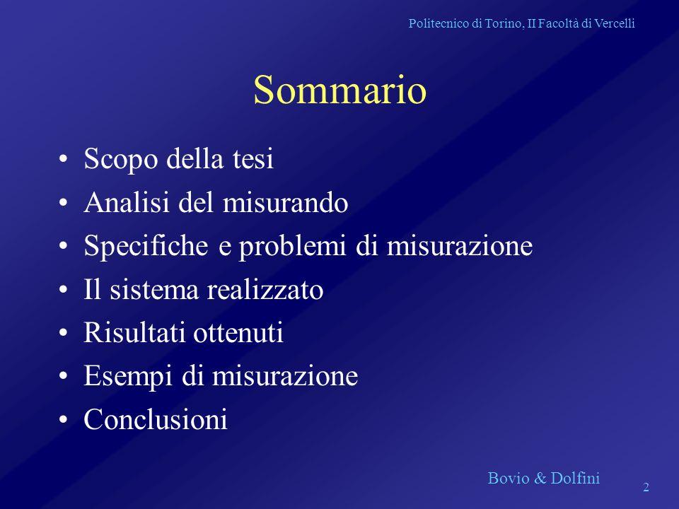 Politecnico di Torino, II Facoltà di Vercelli Bovio & Dolfini 2 Sommario Scopo della tesi Analisi del misurando Specifiche e problemi di misurazione I