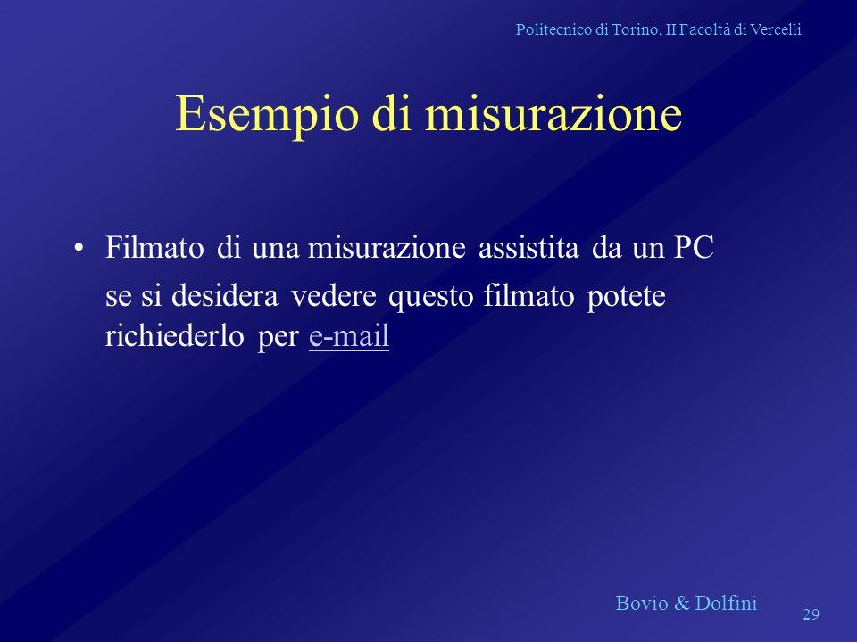 Politecnico di Torino, II Facoltà di Vercelli Bovio & Dolfini 29 Esempio di misurazione Filmato di una misurazione assistita da un PC se si desidera v