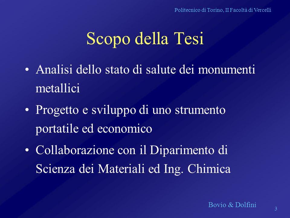Politecnico di Torino, II Facoltà di Vercelli Bovio & Dolfini 3 Scopo della Tesi Analisi dello stato di salute dei monumenti metallici Progetto e svil