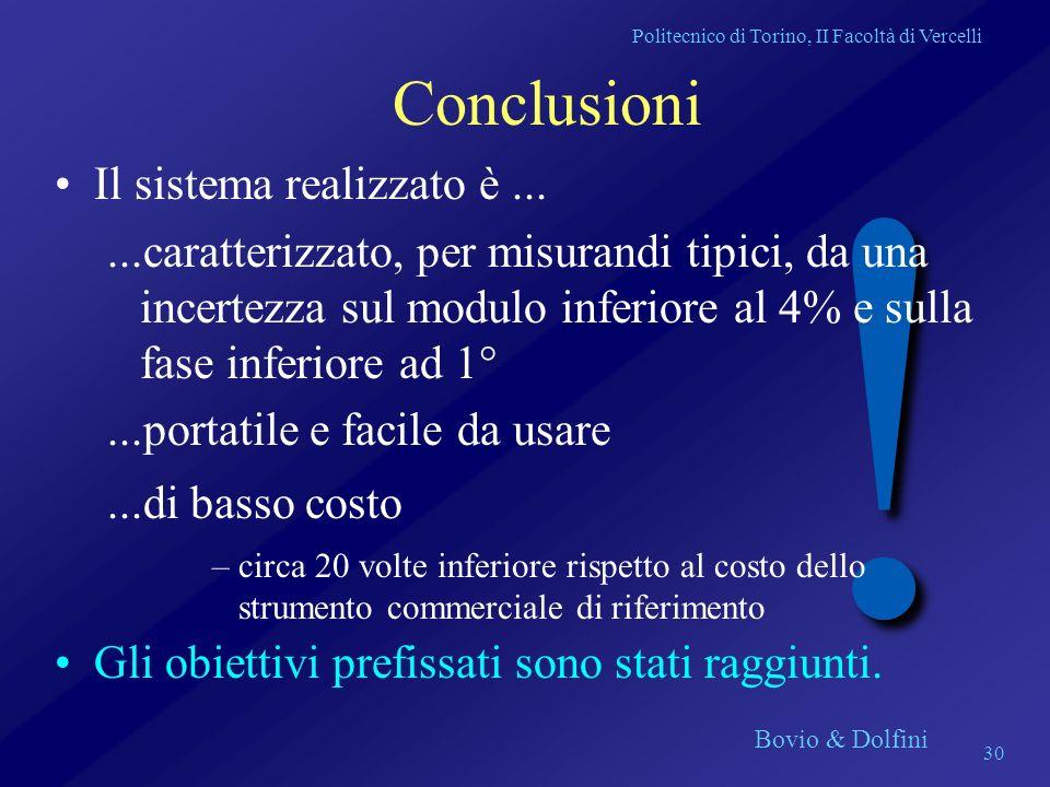 Politecnico di Torino, II Facoltà di Vercelli Bovio & Dolfini 30 ! Conclusioni Il sistema realizzato è......caratterizzato, per misurandi tipici, da u