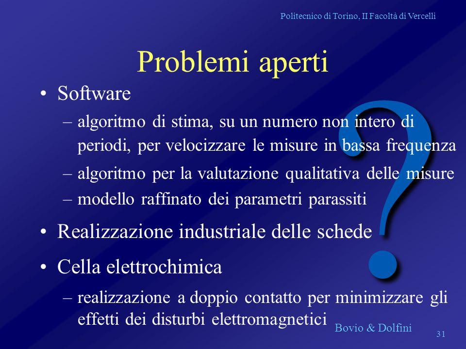 Politecnico di Torino, II Facoltà di Vercelli Bovio & Dolfini 31 ? Problemi aperti Software –algoritmo di stima, su un numero non intero di periodi, p