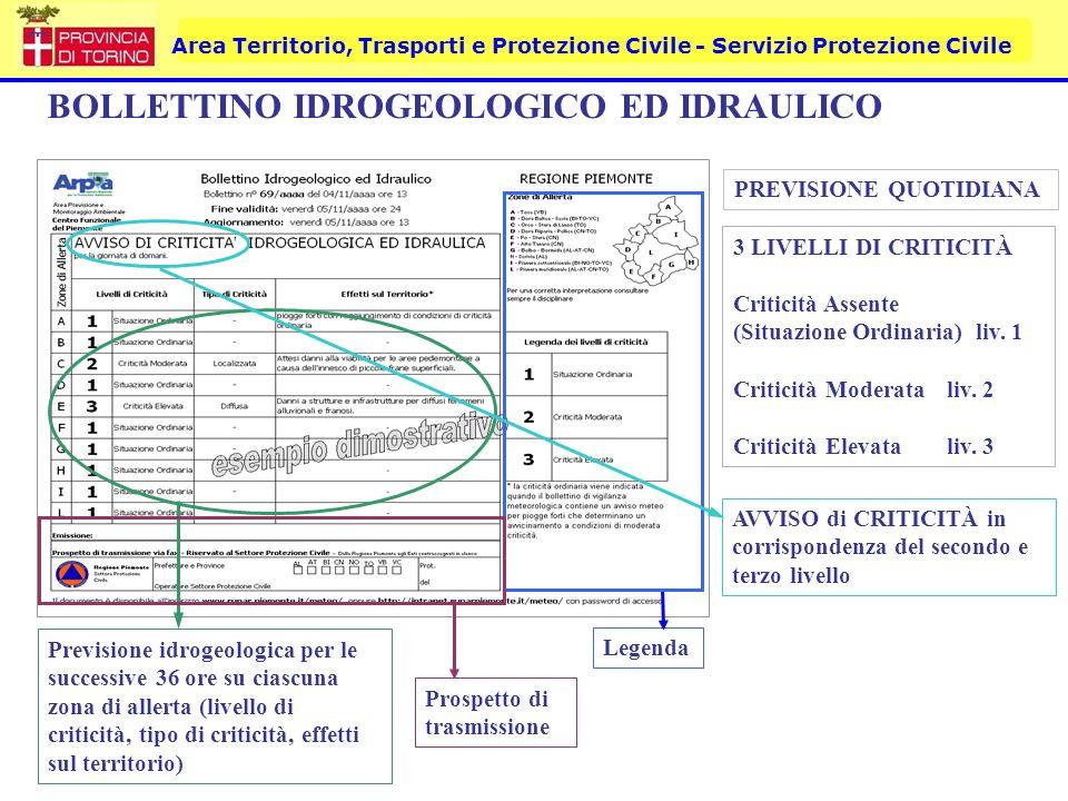 Area Territorio, Trasporti e Protezione Civile - Servizio Protezione Civile BOLLETTINO IDROGEOLOGICO ED IDRAULICO Previsione idrogeologica per le succ