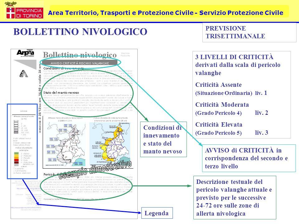Area Territorio, Trasporti e Protezione Civile - Servizio Protezione Civile BOLLETTINO NIVOLOGICO Condizioni di innevamento e stato del manto nevoso L