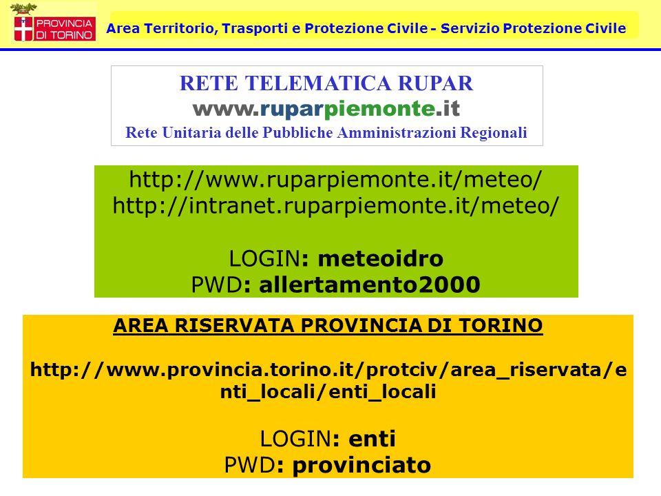 Area Territorio, Trasporti e Protezione Civile - Servizio Protezione Civile RETE TELEMATICA RUPAR www.ruparpiemonte.it Rete Unitaria delle Pubbliche A