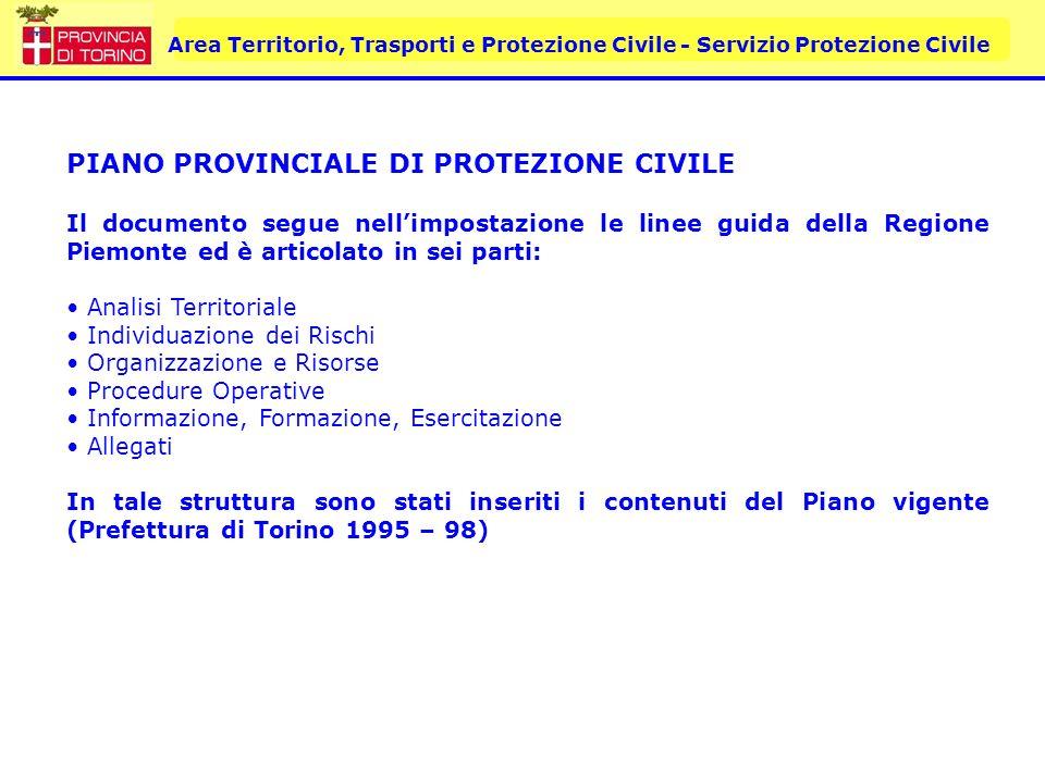 Area Territorio, Trasporti e Protezione Civile - Servizio Protezione Civile PIANO PROVINCIALE DI PROTEZIONE CIVILE Il documento segue nellimpostazione