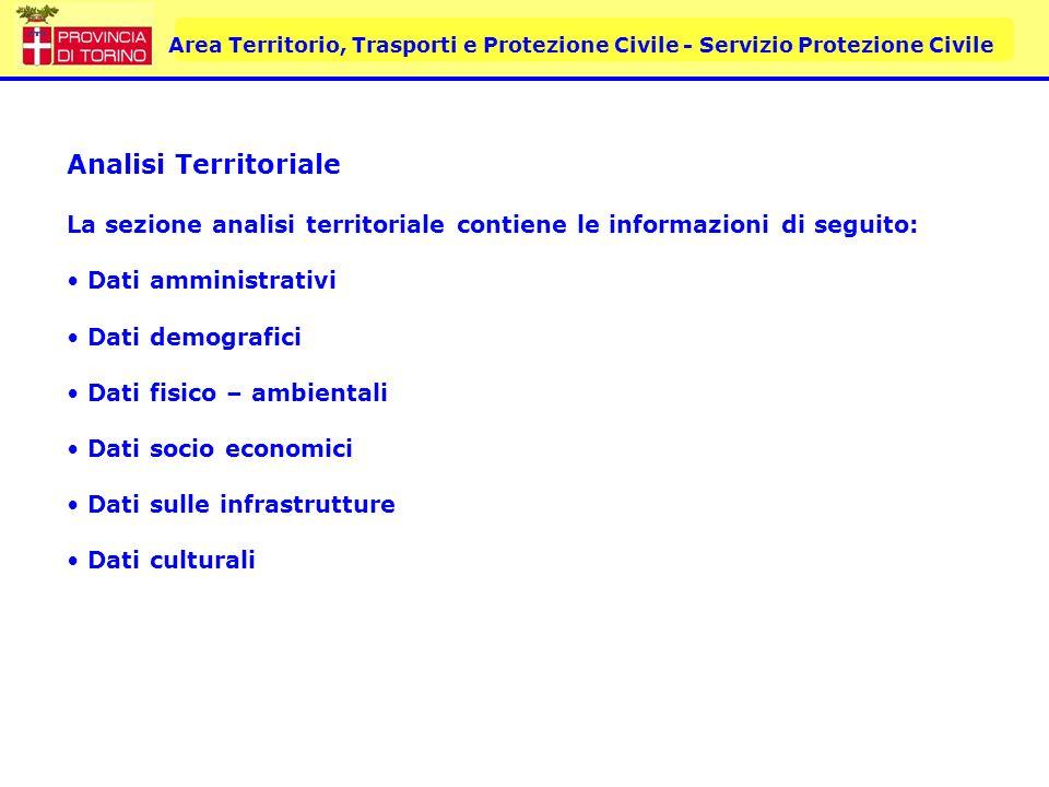 Area Territorio, Trasporti e Protezione Civile - Servizio Protezione Civile Analisi Territoriale La sezione analisi territoriale contiene le informazi