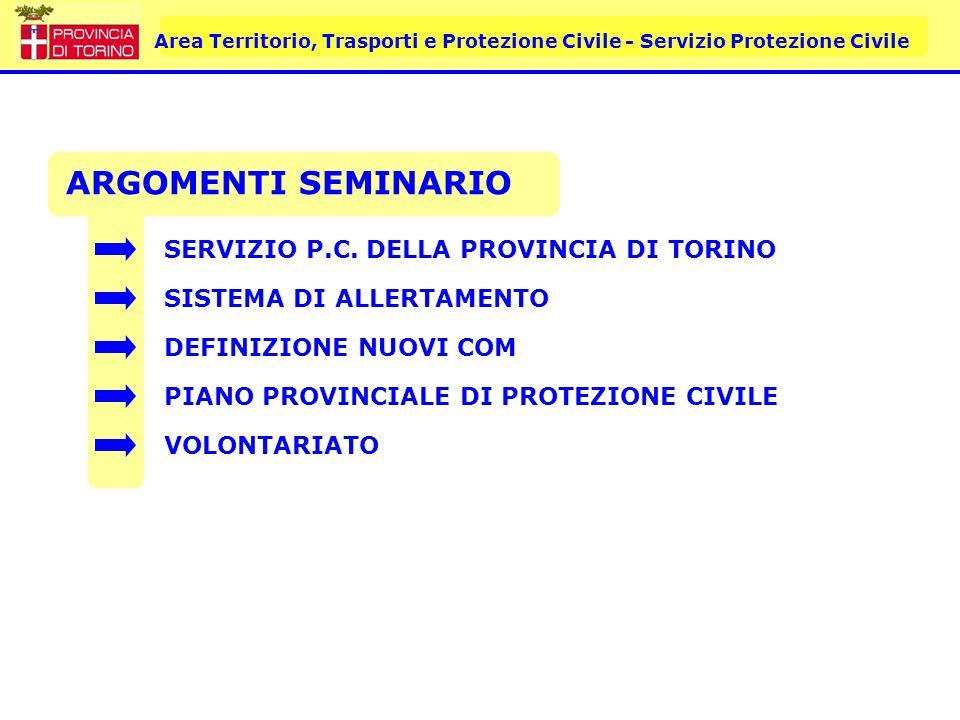 Area Territorio, Trasporti e Protezione Civile - Servizio Protezione Civile 145 ORGANIZZAZIONI COORDINAMENTO PROVINCIALE DELLE VOLONTARIATO DI PROTEZIONE CIVILE 2950 VOLONTARI 120 COMUNI/315 COMUNI SPECIALIZZAZIONI: CINOFILI SOMMOZZATORI RADIOAMATORI SOCCORITORI PSICOLOGI ROCCIATORI E ALTRE…..