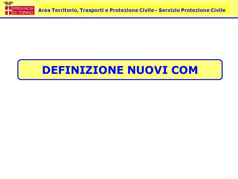 Area Territorio, Trasporti e Protezione Civile - Servizio Protezione Civile DEFINIZIONE NUOVI COM