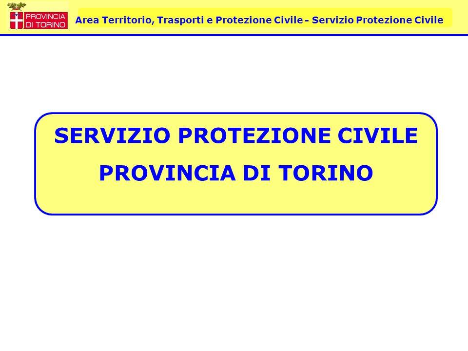 Area Territorio, Trasporti e Protezione Civile - Servizio Protezione Civile Servizio Protezione Civile Provincia di Torino A partire dal 2000, a seguito del trasferimento di competenze attuato con i processi di delega amministrativa (Legge Regionale 26 aprile 2000 n.