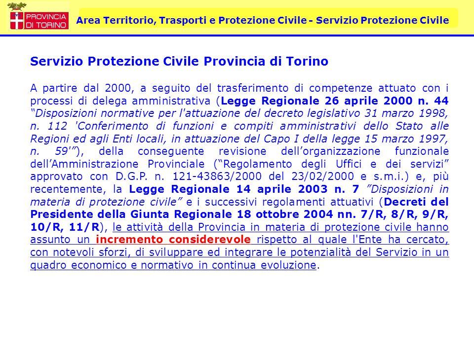 Area Territorio, Trasporti e Protezione Civile - Servizio Protezione Civile Servizio Protezione Civile Provincia di Torino A partire dal 2000, a segui