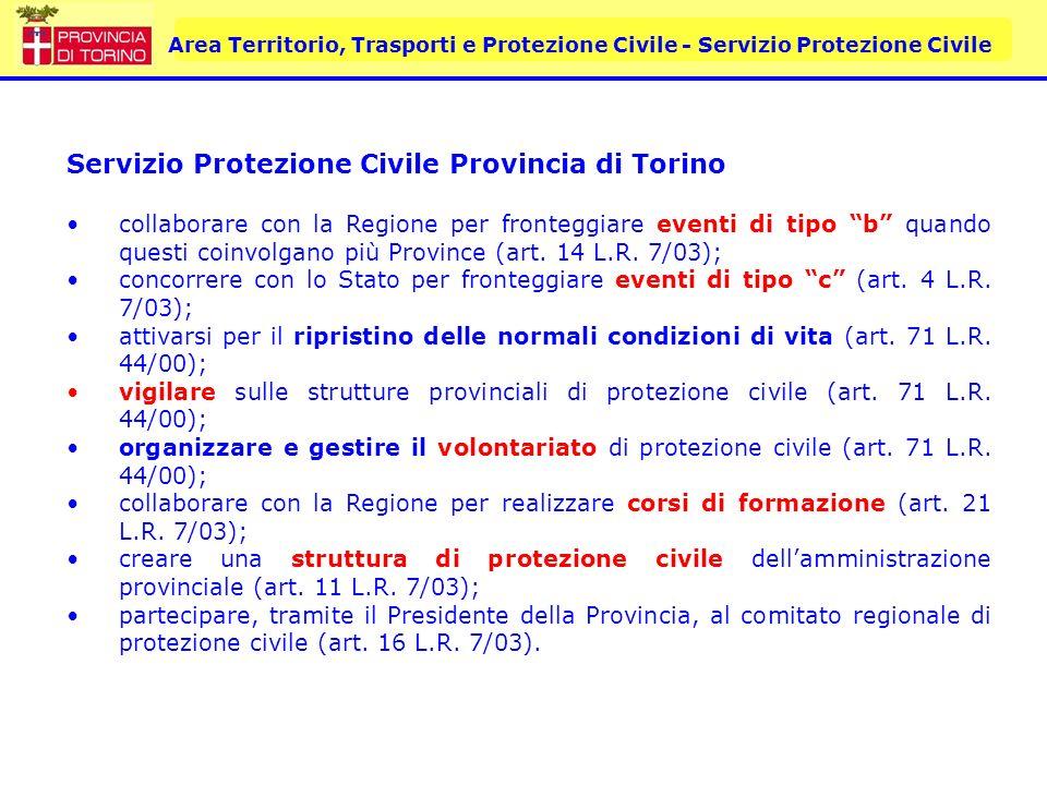 Area Territorio, Trasporti e Protezione Civile - Servizio Protezione Civile Servizio Protezione Civile Provincia di Torino Inoltre, la Provincia, in base alle indicazioni della L.R.
