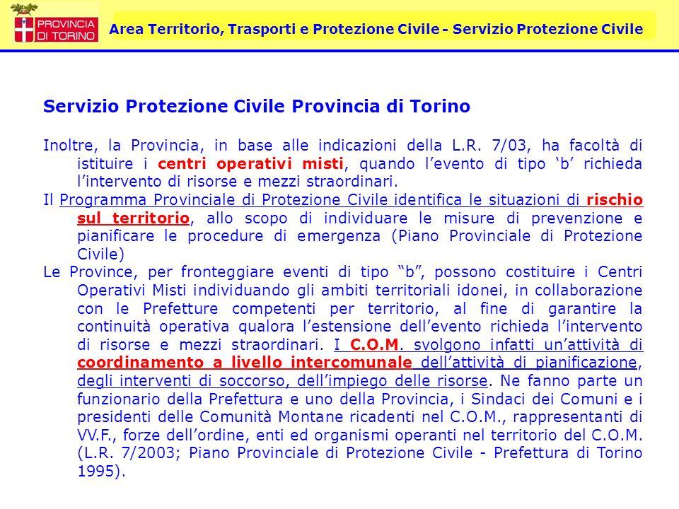 Area Territorio, Trasporti e Protezione Civile - Servizio Protezione Civile PIANO PROVINCIALE DI PROTEZIONE CIVILE Il documento segue nellimpostazione le linee guida della Regione Piemonte ed è articolato in sei parti: Analisi Territoriale Individuazione dei Rischi Organizzazione e Risorse Procedure Operative Informazione, Formazione, Esercitazione Allegati In tale struttura sono stati inseriti i contenuti del Piano vigente (Prefettura di Torino 1995 – 98)