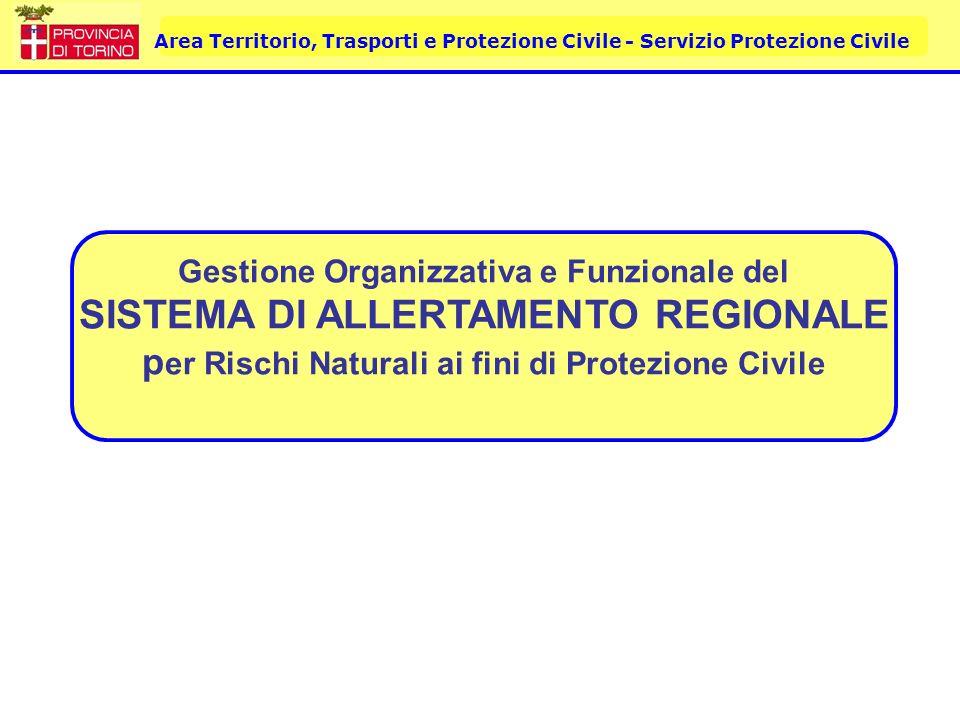 Area Territorio, Trasporti e Protezione Civile - Servizio Protezione Civile Gestione Organizzativa e Funzionale del SISTEMA DI ALLERTAMENTO REGIONALE