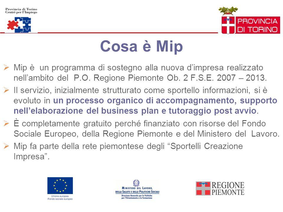 Cosa è Mip Mip è un programma di sostegno alla nuova dimpresa realizzato nellambito del P.O. Regione Piemonte Ob. 2 F.S.E. 2007 – 2013. Il servizio, i