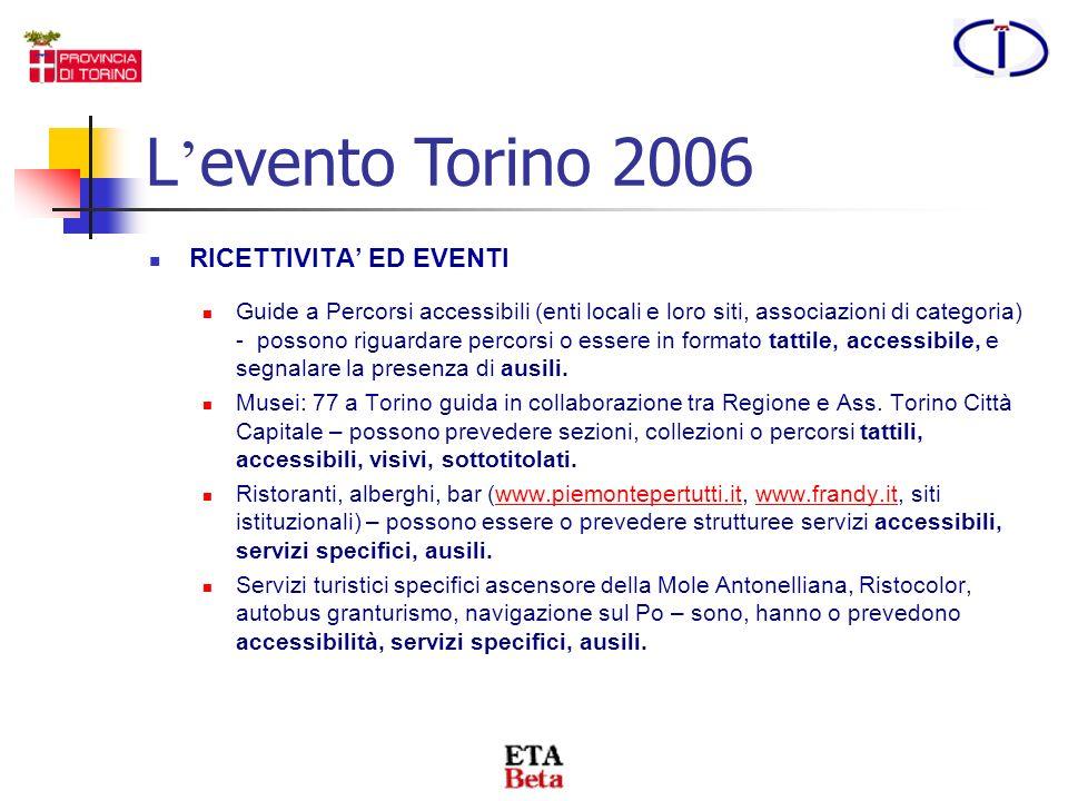 TICKETING E possibile acquistare biglietti per le gare paralimpiche tramite: www.torino2006.org/tickets, il circuito TicketOne (www.ticketone.it),www.