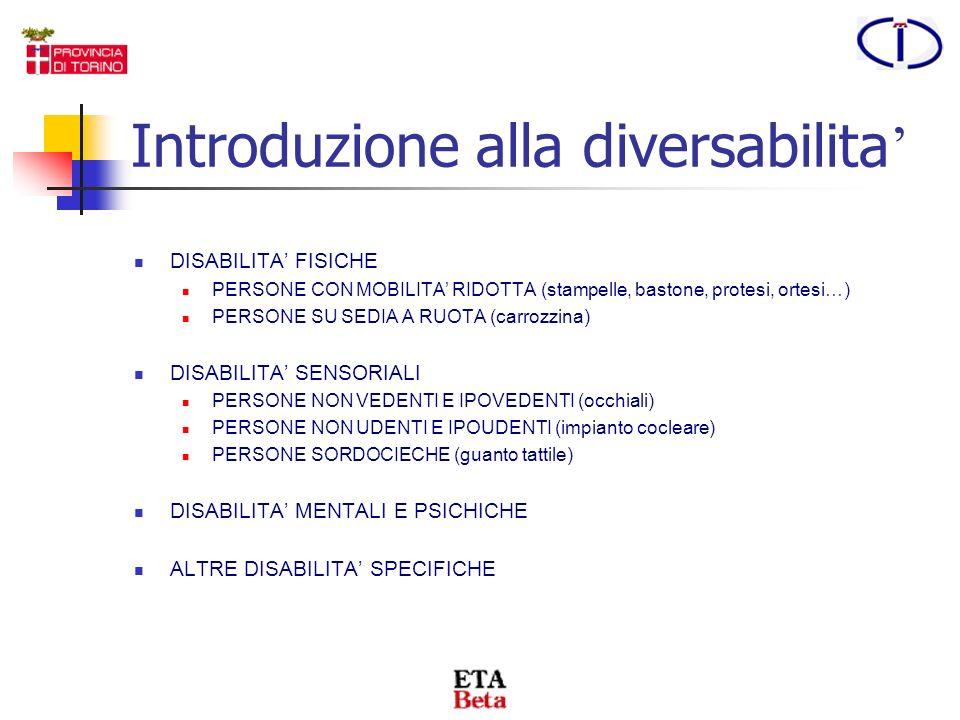 TIPOLOGIE DI PERSONE DIVERSAMENTE ABILI L'invalidità è la difficoltà a svolgere alcune funzioni tipiche della vita quotidiana o di relazione a causa d