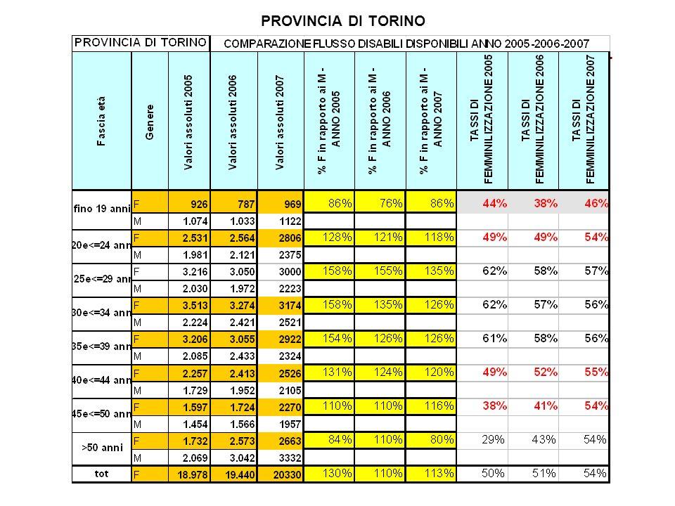 PROVINCIA DI TORINO COMPARAZIONE FLUSSO DISABILI DISPONIBILI AL LAVORO ANNO 2005- 2006-2007