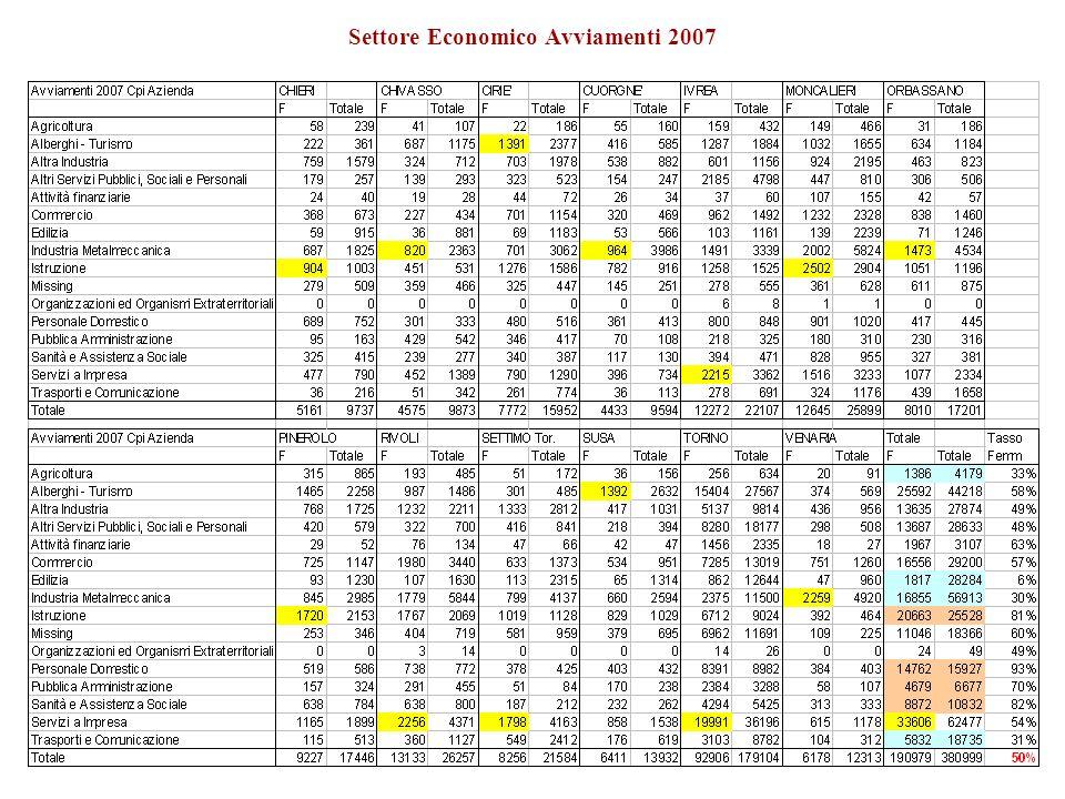 Avviamenti 2007 Distribuzione per settore economico