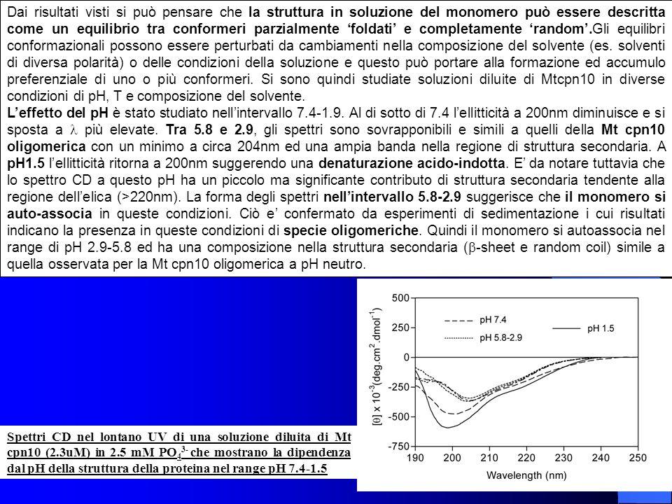 Spettri CD nel lontano UV di una soluzione diluita di Mt cpn10 (2.3uM) in 2.5 mM PO 4 3- che mostrano la dipendenza dal pH della struttura della prote
