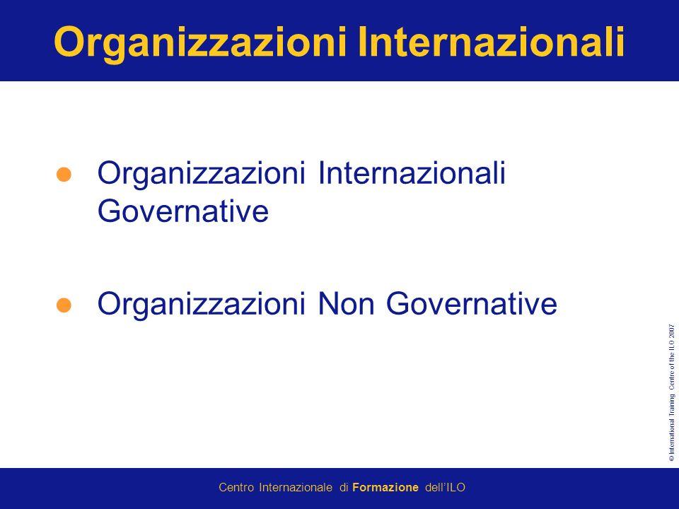 © International Training Centre of the ILO 2007 Centro Internazionale di Formazione dellILO Organizzazioni Internazionali Organizzazioni Internazionali Governative Organizzazioni Non Governative