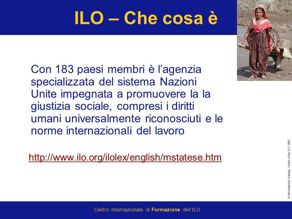 © International Training Centre of the ILO 2007 Centro Internazionale di Formazione dellILO ILO – Che cosa è Con 183 paesi membri è lagenzia specializ