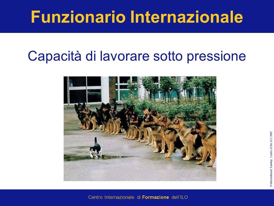 © International Training Centre of the ILO 2007 Centro Internazionale di Formazione dellILO Funzionario Internazionale Capacità di lavorare sotto pressione