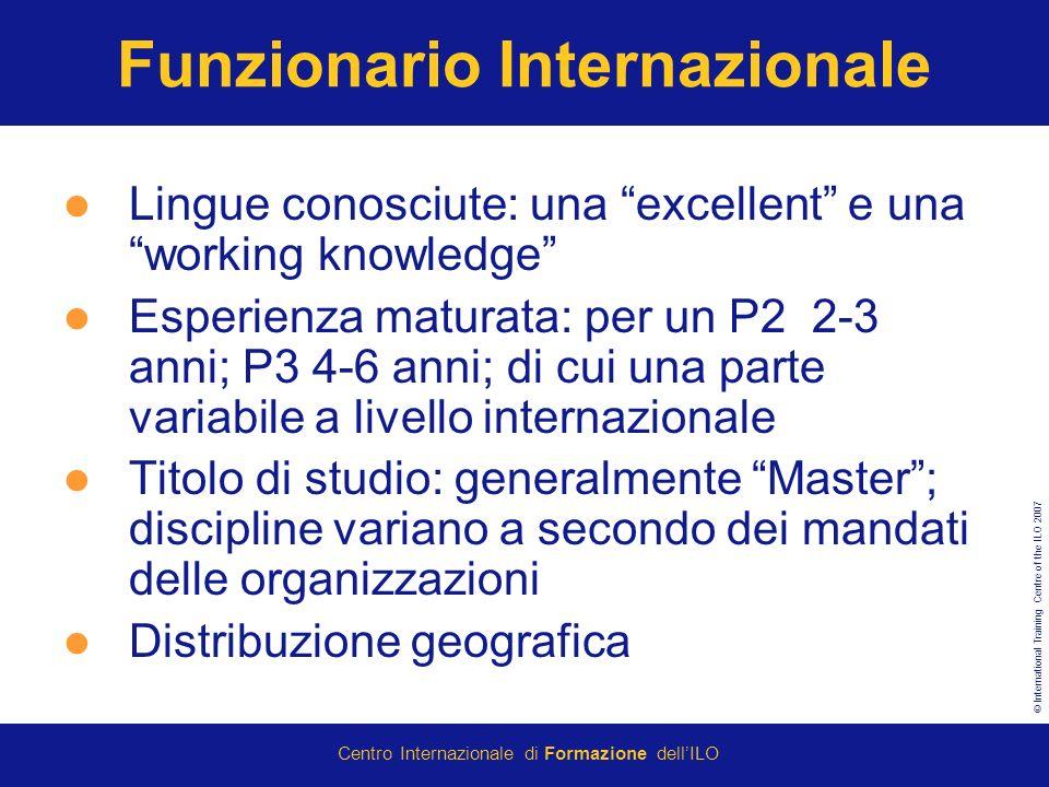 © International Training Centre of the ILO 2007 Centro Internazionale di Formazione dellILO Funzionario Internazionale Lingue conosciute: una excellen