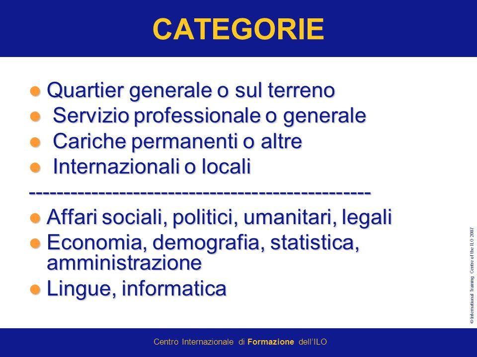 © International Training Centre of the ILO 2007 Centro Internazionale di Formazione dellILO CATEGORIE Quartier generale o sul terreno Quartier generale o sul terreno Servizio professionale o generale Servizio professionale o generale Cariche permanenti o altre Cariche permanenti o altre Internazionali o locali Internazionali o locali------------------------------------------------- Affari sociali, politici, umanitari, legali Affari sociali, politici, umanitari, legali Economia, demografia, statistica, amministrazione Economia, demografia, statistica, amministrazione Lingue, informatica Lingue, informatica