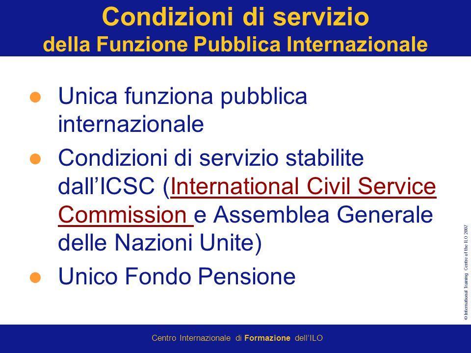© International Training Centre of the ILO 2007 Centro Internazionale di Formazione dellILO Condizioni di servizio della Funzione Pubblica Internazion