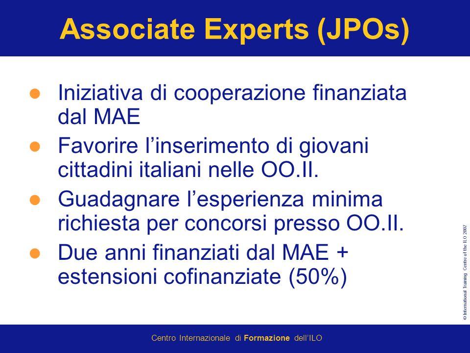 © International Training Centre of the ILO 2007 Centro Internazionale di Formazione dellILO Associate Experts (JPOs) Iniziativa di cooperazione finanziata dal MAE Favorire linserimento di giovani cittadini italiani nelle OO.II.