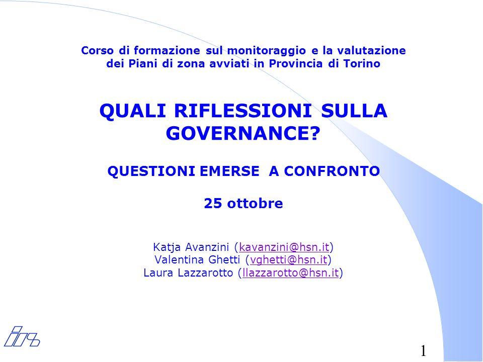 1 Corso di formazione sul monitoraggio e la valutazione dei Piani di zona avviati in Provincia di Torino QUALI RIFLESSIONI SULLA GOVERNANCE.