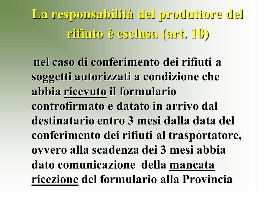 La responsabilità del produttore del rifiuto è esclusa (art.