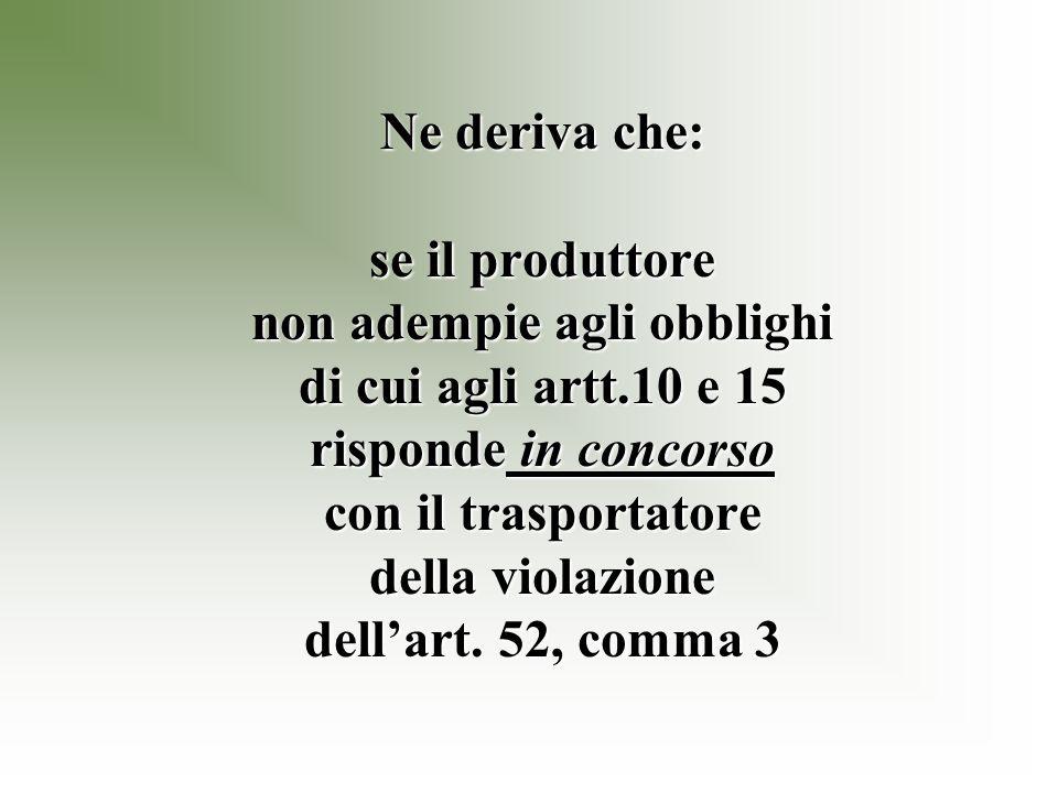 Ne deriva che: se il produttore non adempie agli obblighi di cui agli artt.10 e 15 risponde in concorso con il trasportatore della violazione dellart.