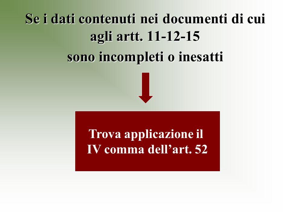 Se i dati contenuti nei documenti di cui agli artt.