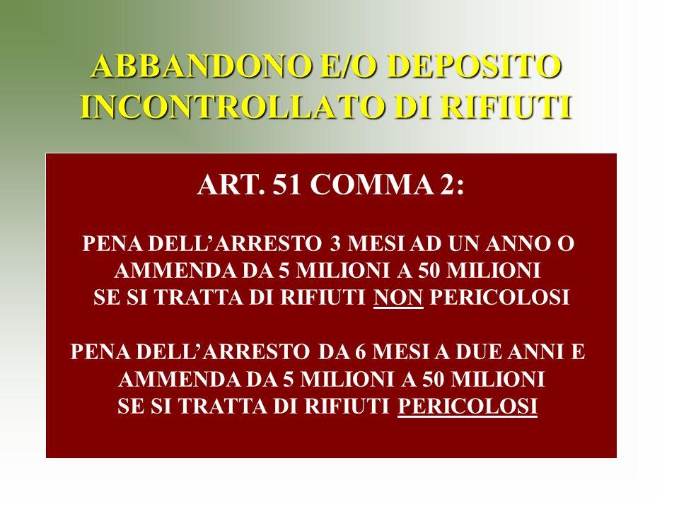 ABBANDONO E/O DEPOSITO INCONTROLLATO DI RIFIUTI ART.