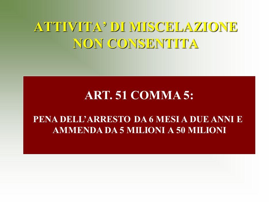 ATTIVITA DI MISCELAZIONE NON CONSENTITA ART.