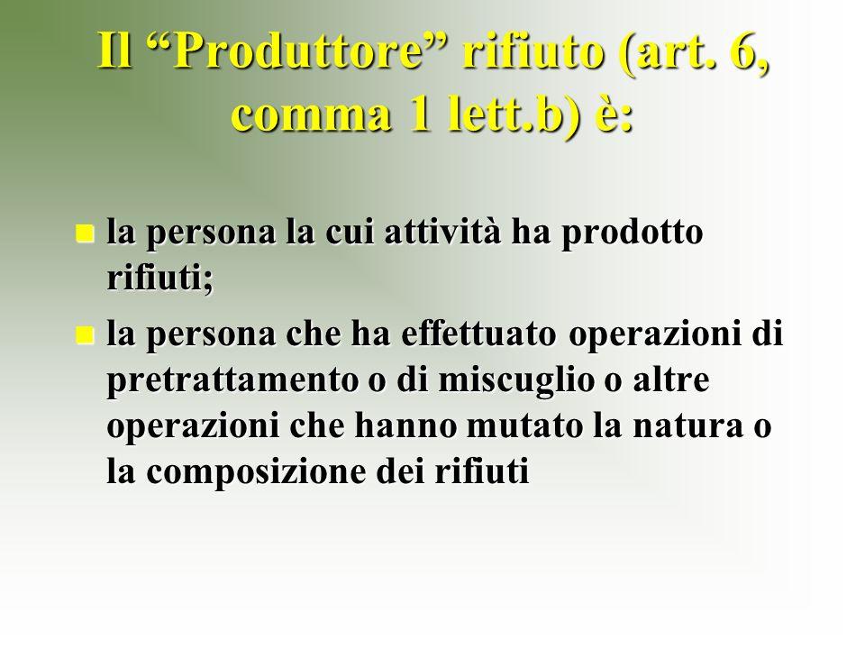 Il Produttore rifiuto (art.