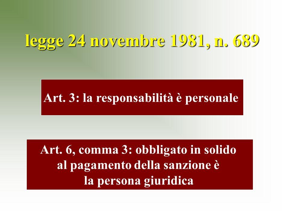 legge 24 novembre 1981, n. 689 Art. 3: la responsabilità è personale Art.
