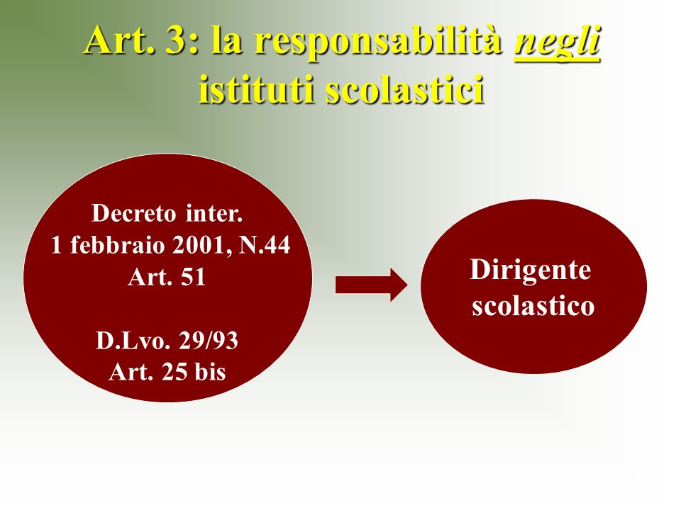 Art. 3: la responsabilità negli istituti scolastici Decreto inter.