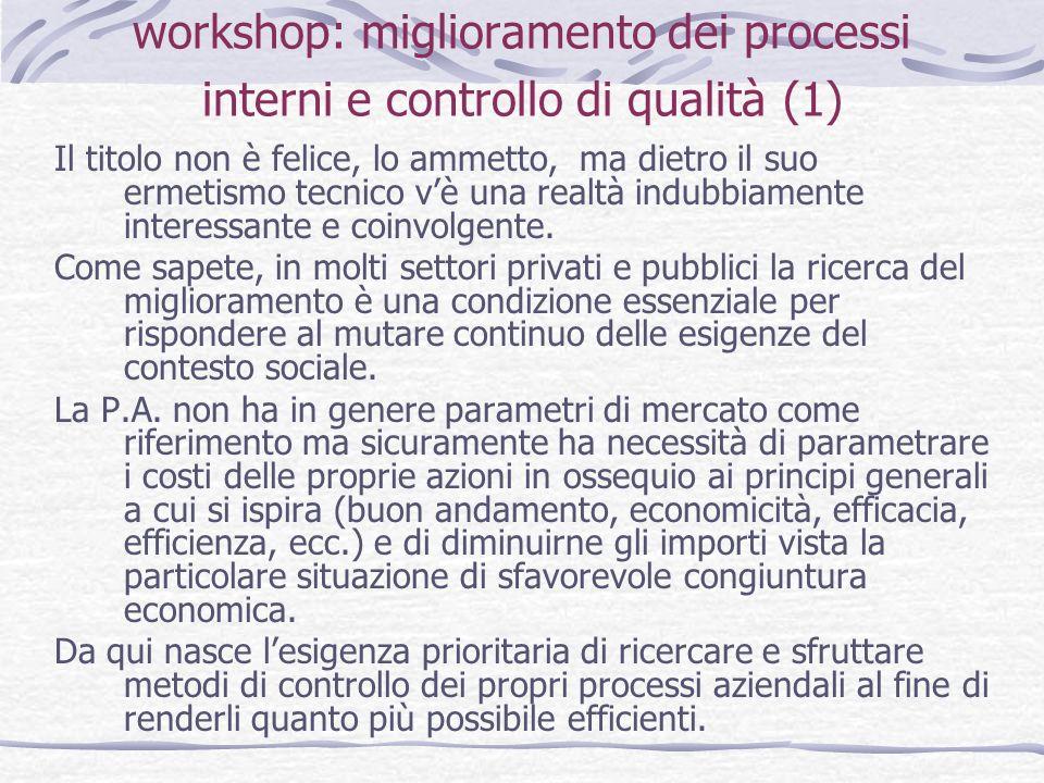 workshop: miglioramento dei processi interni e controllo di qualità (2) Ecco quindi largomento su cui siamo tenuti a dibattere:ridurre gli sprechi, eliminare le inefficienze ed aumentare il livello di servizio offerto.