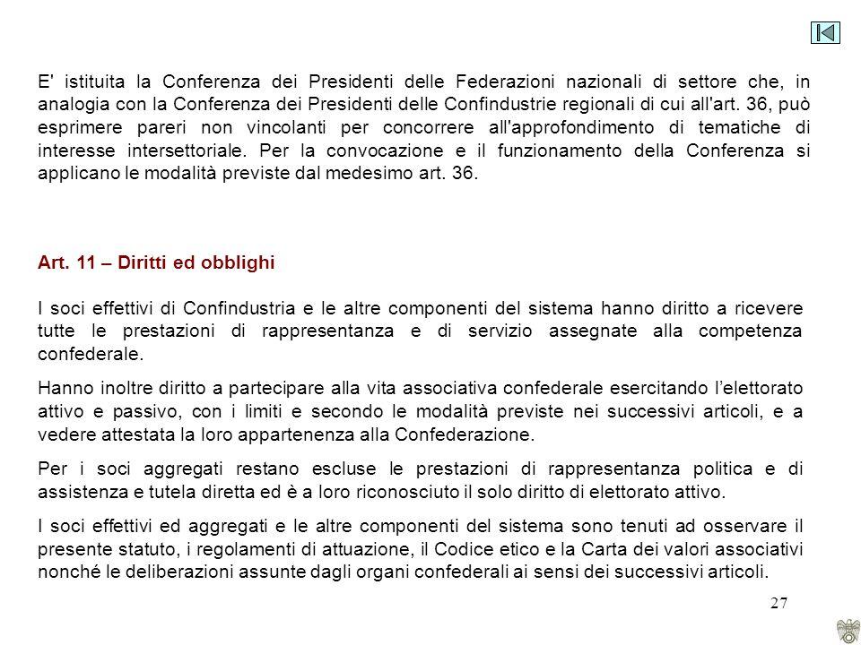 27 E istituita la Conferenza dei Presidenti delle Federazioni nazionali di settore che, in analogia con la Conferenza dei Presidenti delle Confindustrie regionali di cui all art.
