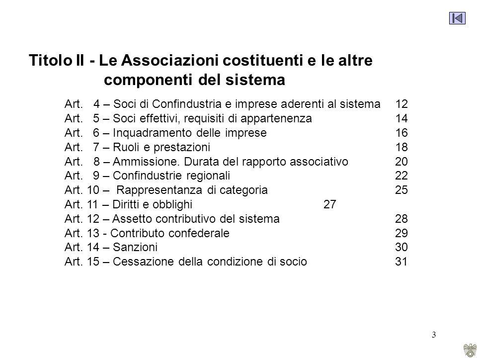 3 Titolo II - Le Associazioni costituenti e le altre componenti del sistema Art.
