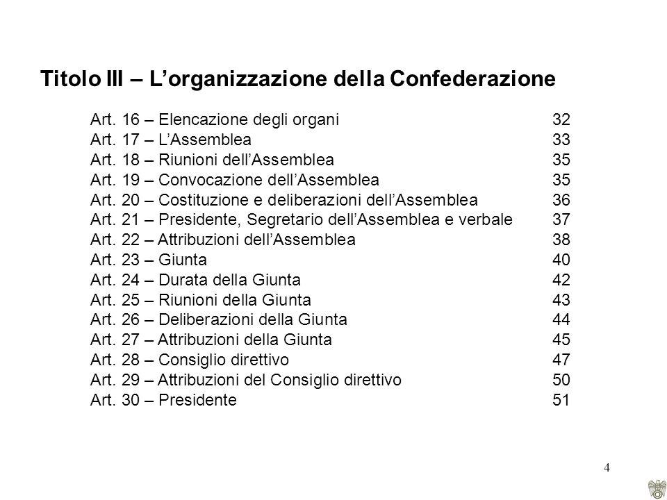 4 Titolo III – Lorganizzazione della Confederazione Art.