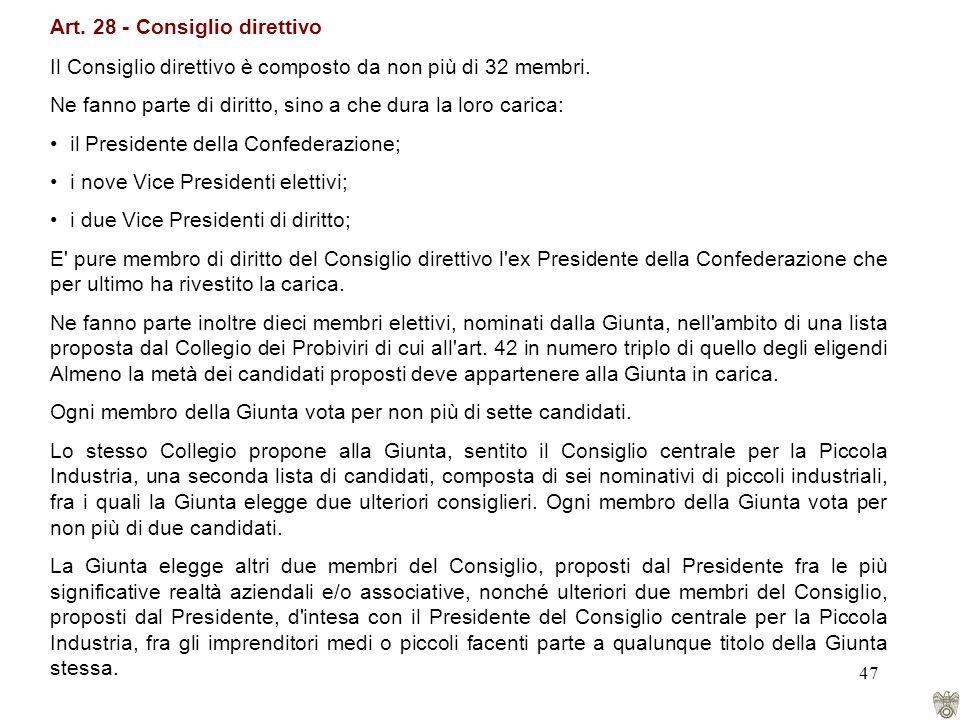 47 Art. 28 - Consiglio direttivo Il Consiglio direttivo è composto da non più di 32 membri.